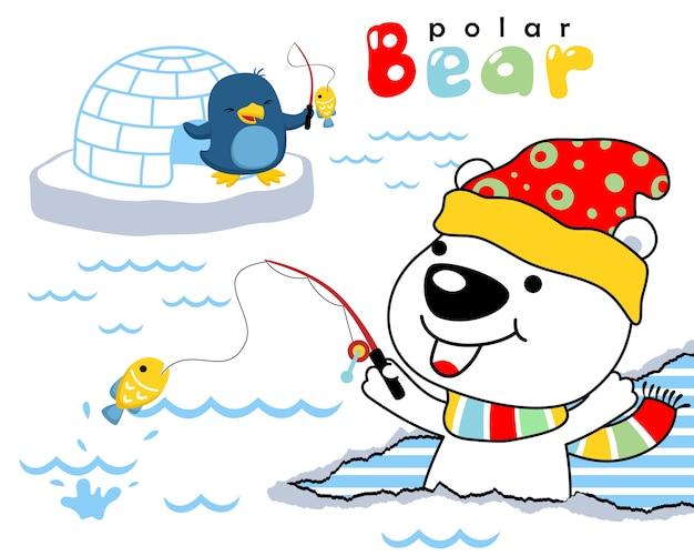 Vector cartoon of polar bear with penguin fishing Premium Vector