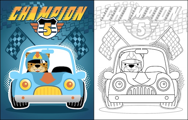 Vector cartoon of race car Premium Vector