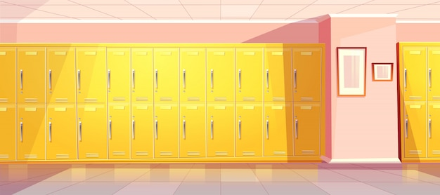 Vector cartoon school or college corridor with bright yellow lockers for students, pupils. universit Free Vector