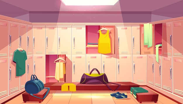 Vector cartoon school gym with wardrobe changing room with open