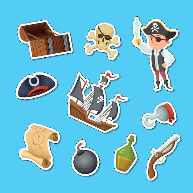 Vector cartoon sea pirates stickers set Premium Vector