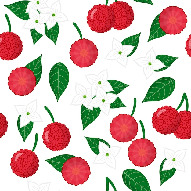 Vector cartoon seamless pattern with cornus capitata or strawberry tree exotic fruits, flowers and leafs Premium Vector