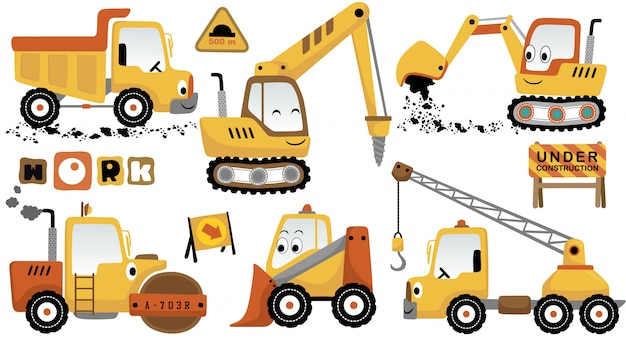 Vector cartoon set of funny construction vehicles Premium Vector