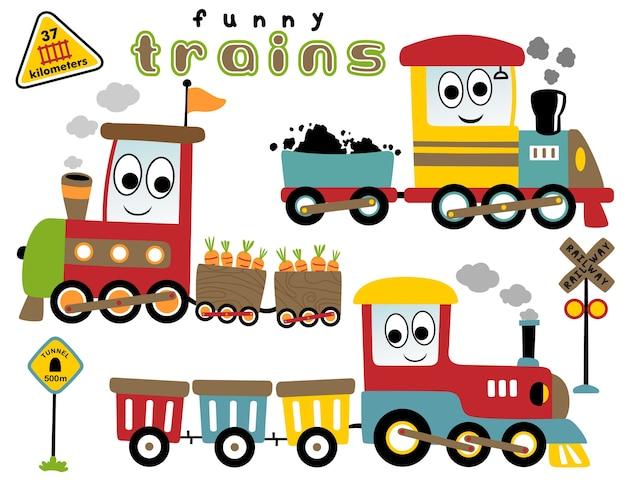 Vector cartoon set of funny trains Premium Vector