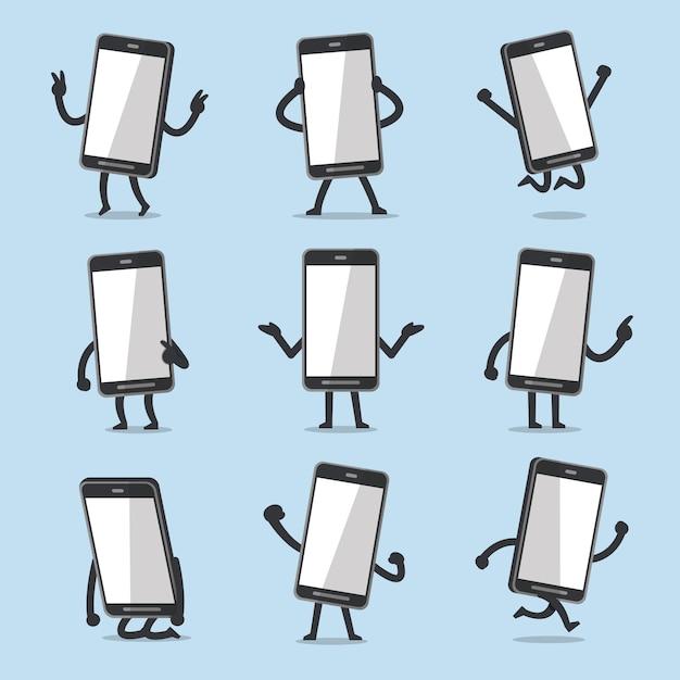 Vector cartoon smartphone character poses Premium Vector