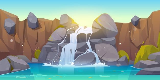 Vector cartoon waterfall and rocks Free Vector