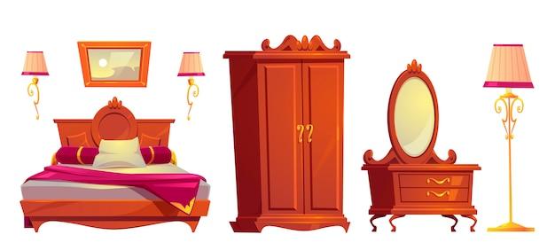 Векторный мультфильм деревянная мебель для роскошной спальни Бесплатные векторы