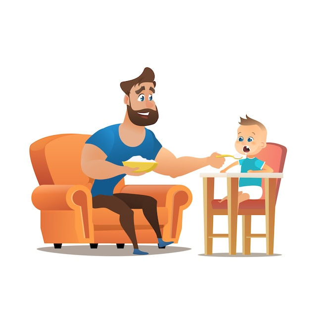 Vector cartoon young smiling father sitting chair Premium Vector