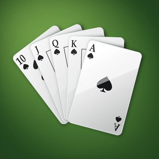 Vector casino playing cards or royal straight flush top view isolated on green poker table Free Vector