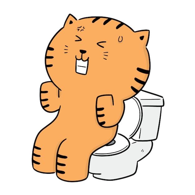 Vector of cat using flush toilet Premium Vector