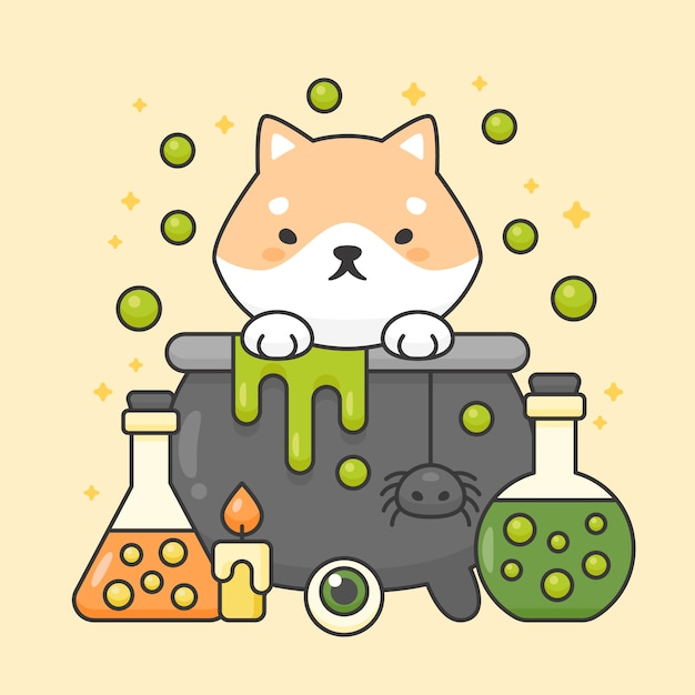 Vector character of cute shiba inu dog in a poison pot with poison bottles Premium Vector