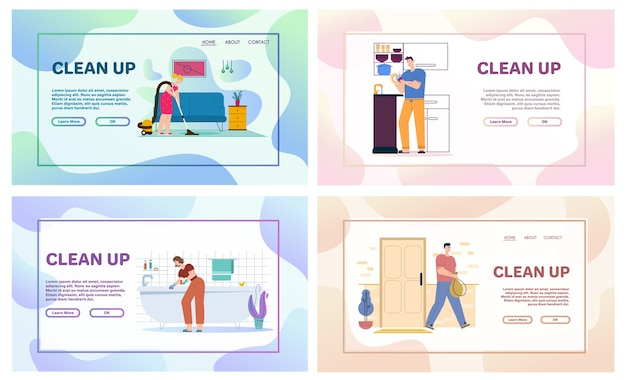 Vector character illustration of cleaning house scenes, doing housework, daily routine. man washes dishes in kitchen, throws garbage. woman washes window and bath, vacuuming floor in living room Premium Vector