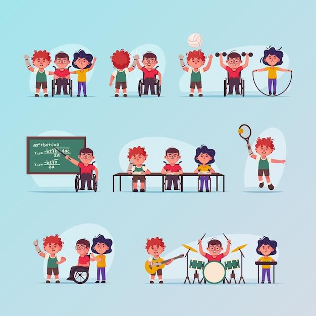 ベクトル文字イラスト無効子シーンセット。車椅子の男の子、義手。子供たちは学校に行き、スポーツをし、音楽の趣味をします。友情、子供時代、多様性、アクセシビリティの概念 Premiumベクター