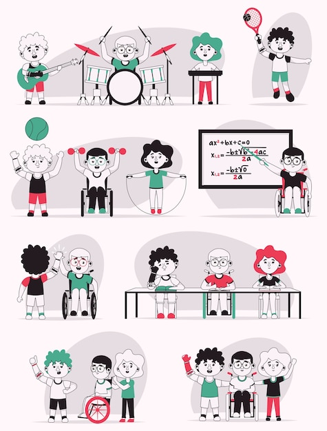 Vector character illustration of disabled kids life scenes set. boys in wheelchair or prosthetic arm. kids go to school, do sports or music hobbies Premium Vector