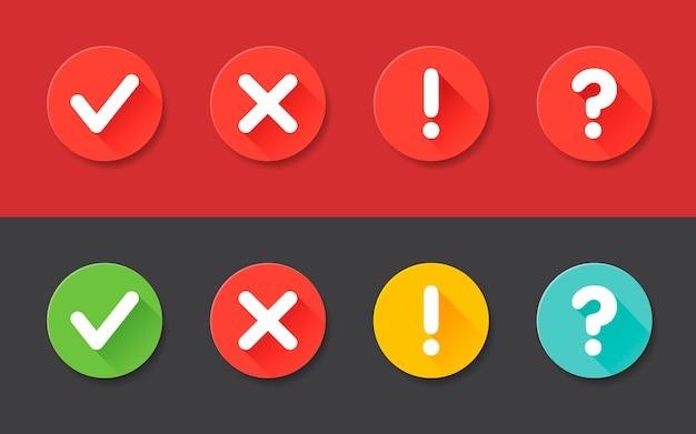 ベクトルチェックマーク感嘆符、疑問符のアイコンを設定します。 webおよびモバイルアプリケーションのフラットアイコン。影付きサークルフラットデザイン。 Premiumベクター
