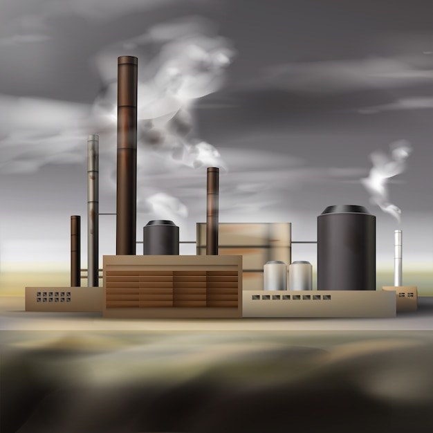 Vector chemical factory with smoke from pipes and overcast weather, air pollution concept Free Vector