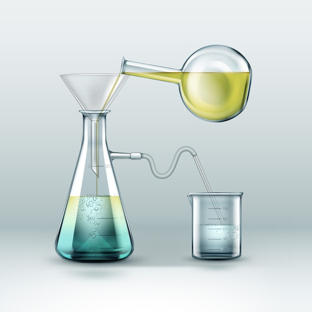 La ricerca sulle reazioni chimiche vettoriali viene eseguita utilizzando boccette di vetro piene di liquido giallo blu, imbuto e becher isolato su sfondo Vettore gratuito