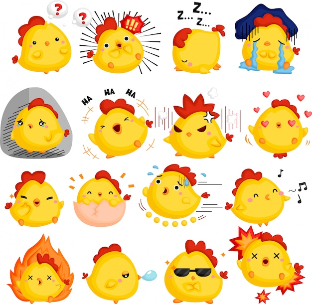 A vector of chickens full of emotions Free Vector