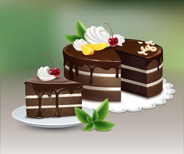 Вектор шоколадный слоеный торт с глазурью, взбитыми сливками, орехами, фруктами, вишней и мятой на белой кружевной салфетке на размытом фоне Premium векторы