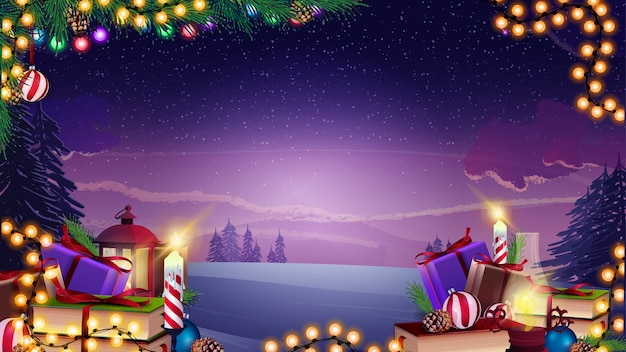Vector christmas background with garland, christmas branches and presents on the winter landscape Premium Vector