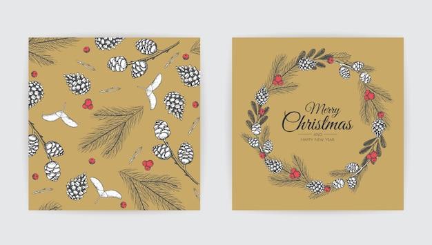 ベクトルのクリスマスカードセット Premiumベクター