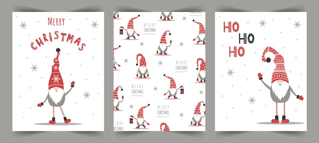 ノームとベクトルのクリスマスカード。季節の挨拶。 Premiumベクター