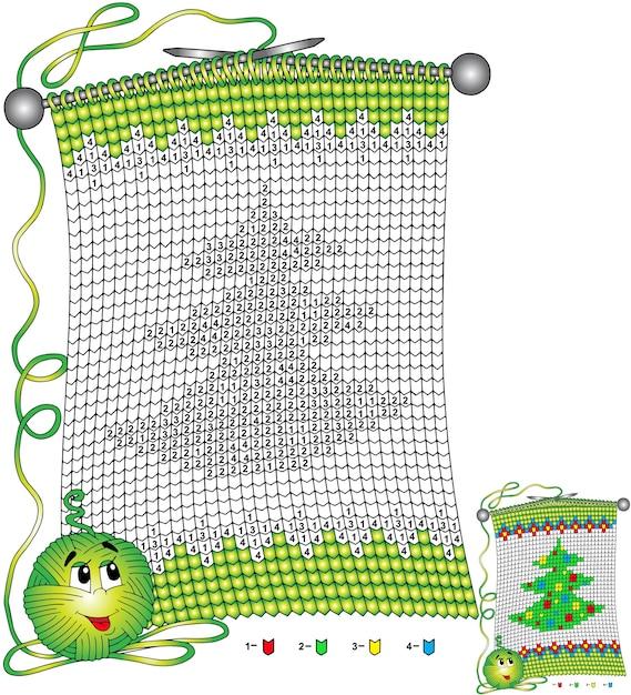 ベクトルクリスマスぬりえ。子供向けのタスクは、クリスマスツリーをイメージしたニットスカーフの形で番号で色分けされています Premiumベクター