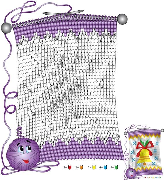 ベクトルクリスマスぬりえ。クリスマスの鐘をイメージしたニットスカーフの形をした子供向けのタスクは、番号で色分けされています Premiumベクター