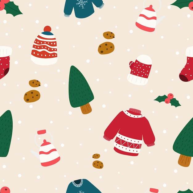 ベクトルのクリスマスパターン。クリスマスのシームレスなパターン Premiumベクター