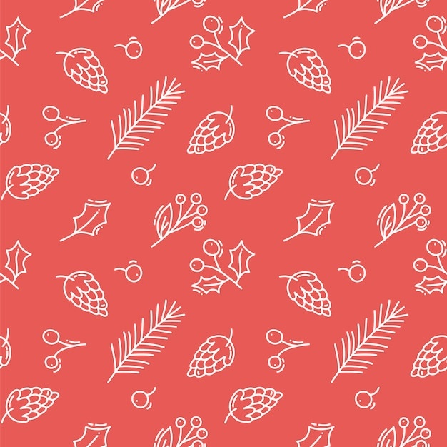 Vector christmas red seamless pattern with cones, berries and tree branches Premium Vector