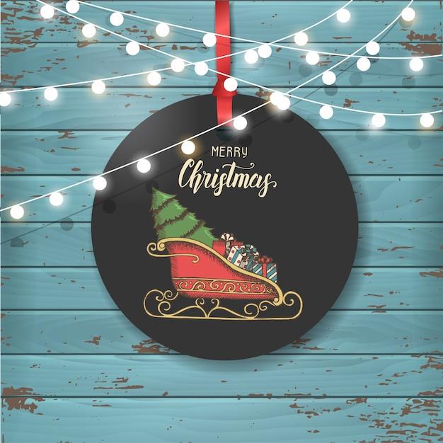 Векторные рождественские старинные этикетки с саней санта-клауса с подарками и елки. Premium векторы