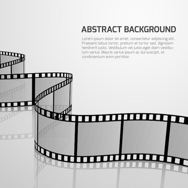 Vector cinema movie background with retro film strip roll Premium Vector