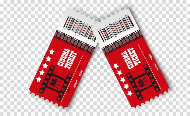 分離されたベクトル映画チケット。リアルな映画の入場券。 Premiumベクター
