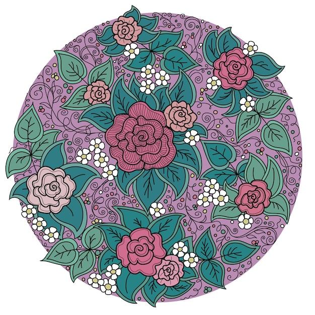 バラと葉のベクトル円花柄 Premiumベクター