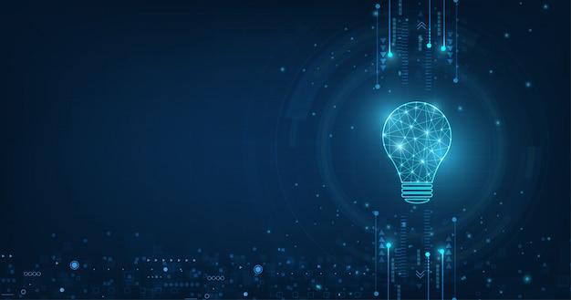技術の背景に水色とランプ電球とベクトルサークルテック。 Premiumベクター