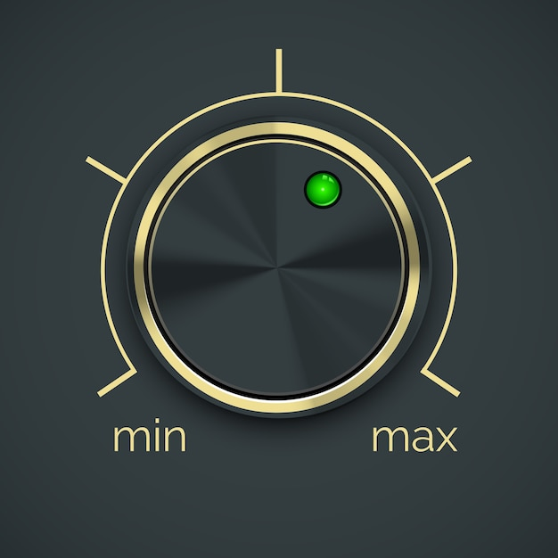 Vector circular metal controller with green button  isolated on black background. Free Vector