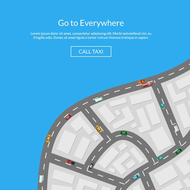 Vector city map with cars Premium Vector