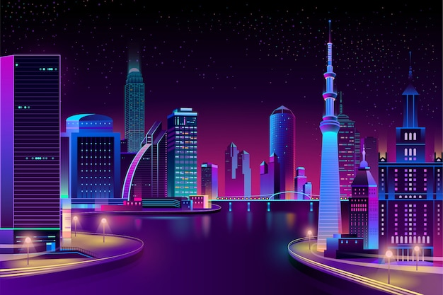 Vector city, megapolis on river at night. Free Vector