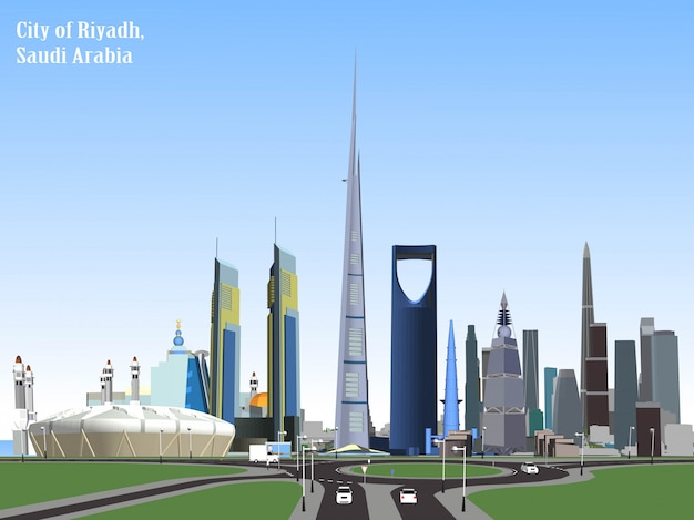Vector city of riyadh, saudi arabia Premium Vector