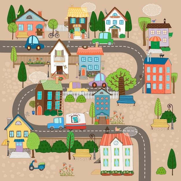 Векторная иллюстрация городской пейзаж. город или город на дороге Бесплатные векторы