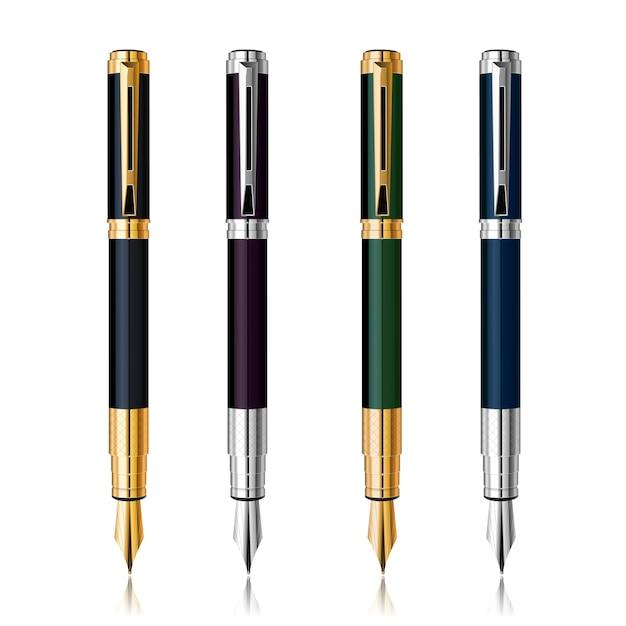 리플렉션 사용 하여 벡터 클래식 펜 세트입니다. 금과은 무료 벡터
