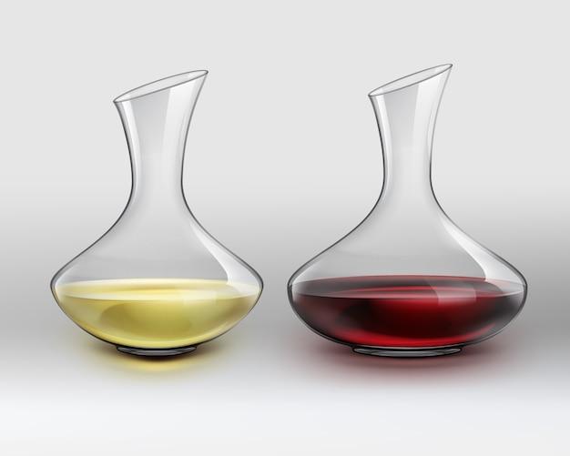 Decanter di vetro classico di vettore con vino rosso e decanter con vino bianco, su sfondo grigio sfumato Vettore gratuito