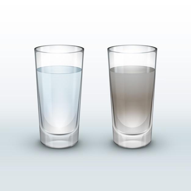Vector acqua pulita e sporca in vetro isolato su sfondo chiaro Vettore gratuito