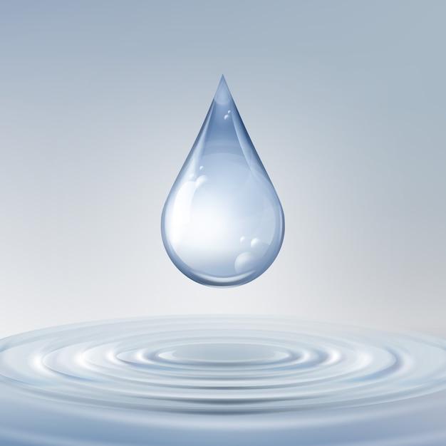 물에 동그라미와 벡터 깨끗 한 반짝 블루 드롭 전면보기를 닫습니다. 무료 벡터