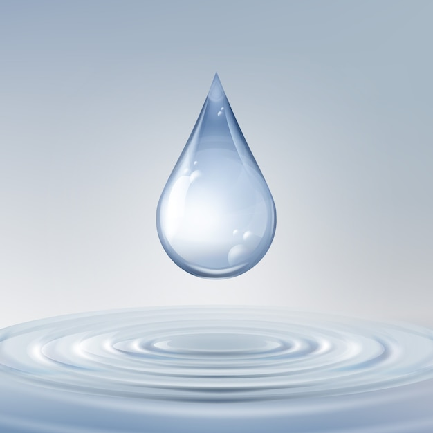 Vector clean shiny blue drop with circles on water close up front view Free Vector