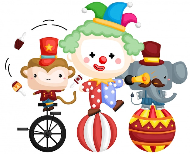 A vector of a clown on top of a ball with animals beside it Premium Vector