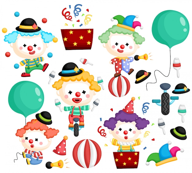 A vector of a clown vector set with many poses Premium Vector