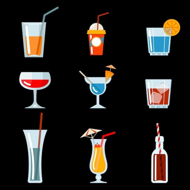 Icone vettoriali cocktail per la progettazione di menu cocktail party Vettore gratuito