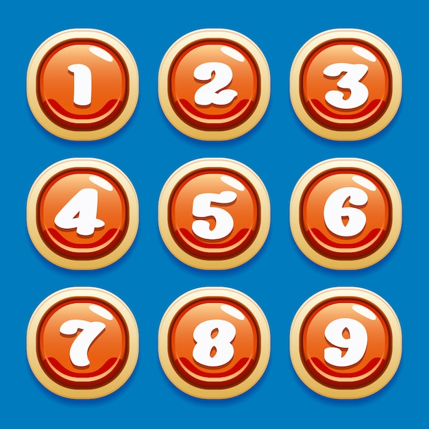Vector collection of buttons for gaming interfaces for mobile games Premium Vector