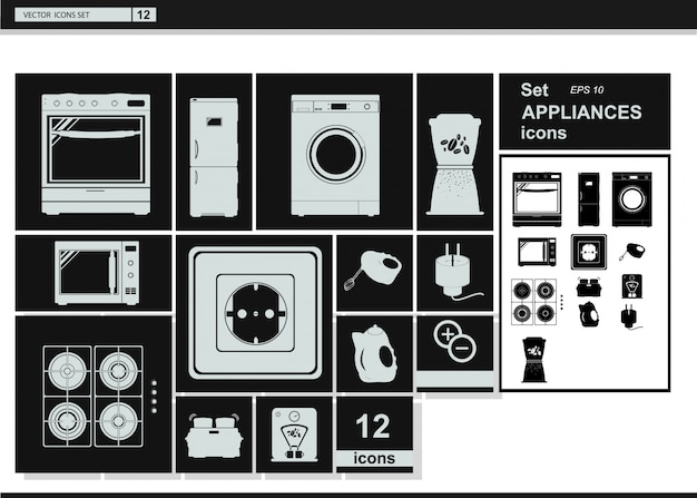 Vector collection icons. appliances kitchenware Free Vector